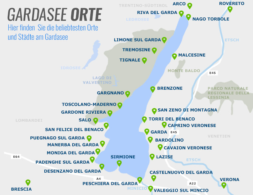 Verona Italien Karte.Orte Am Gardasee Infos Zu Den Urlaubsorten Auf Gardasee At